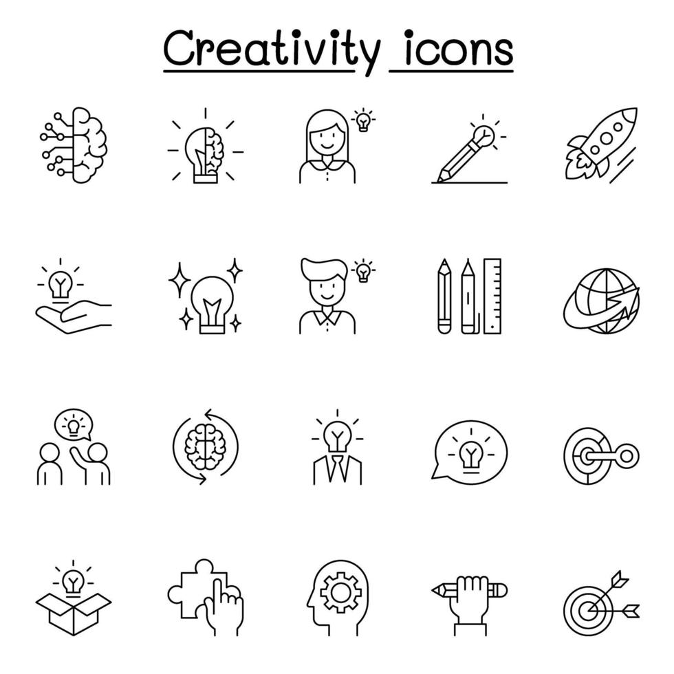 ícones criativos definidos em estilo de linha fina vetor