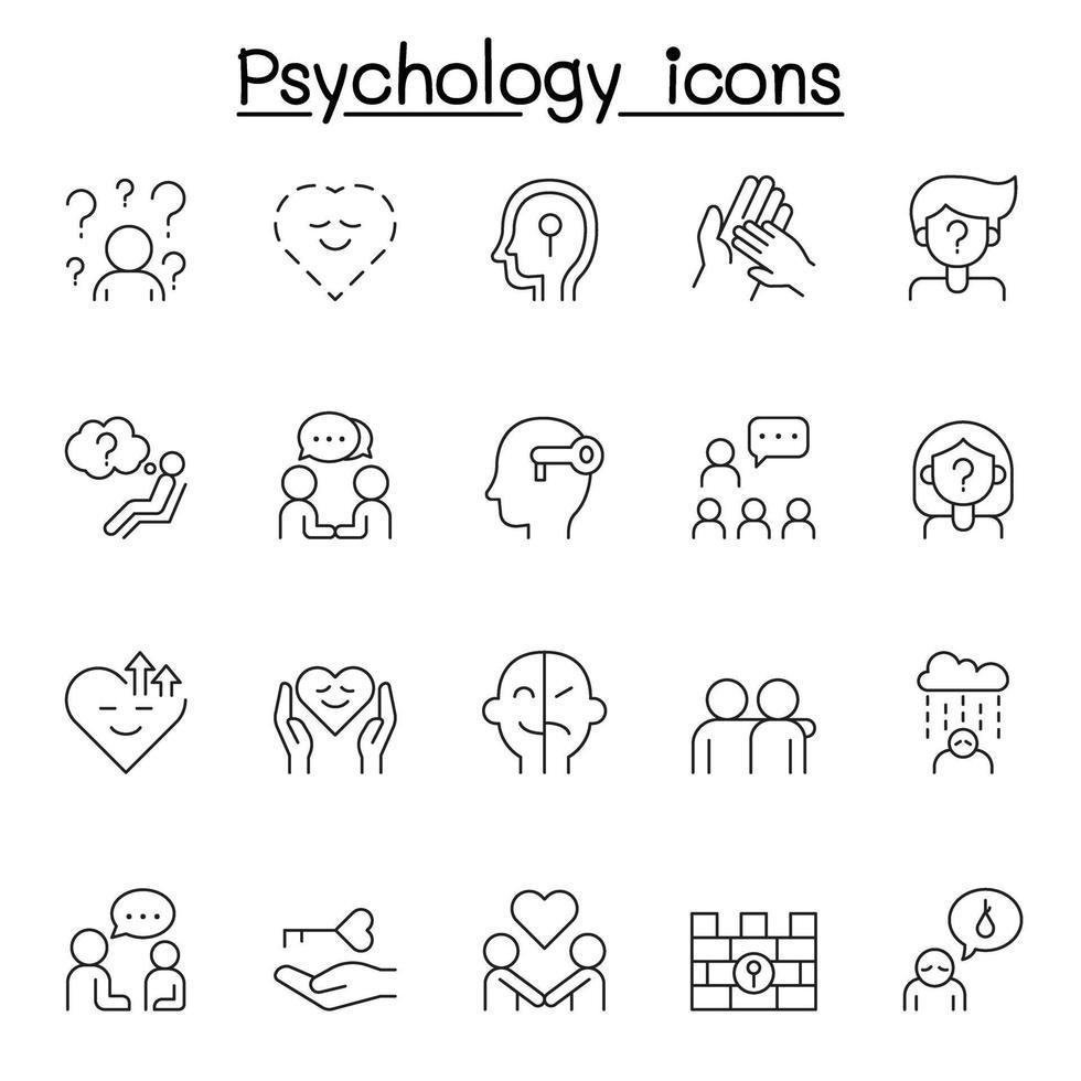 ícone de psicologia definido em estilo de linha fina vetor