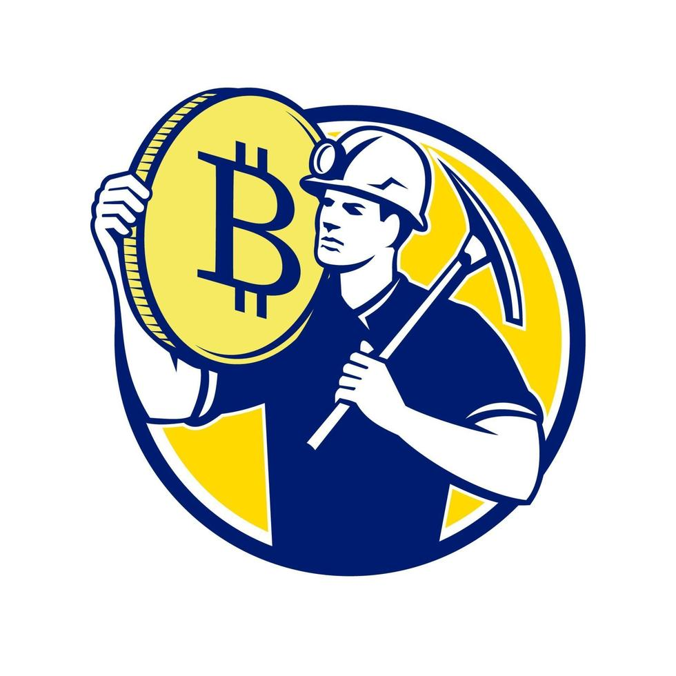 minerador criptomoeda bitcoin círculo design retro vetor
