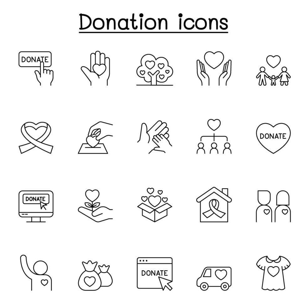ícones de caridade e doação definidos em estilo de linha fina vetor