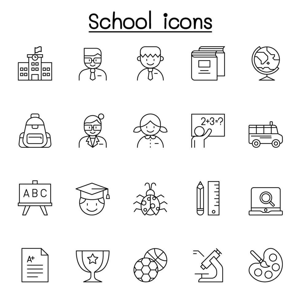 ícones escolares e educacionais em estilo de linha fina vetor
