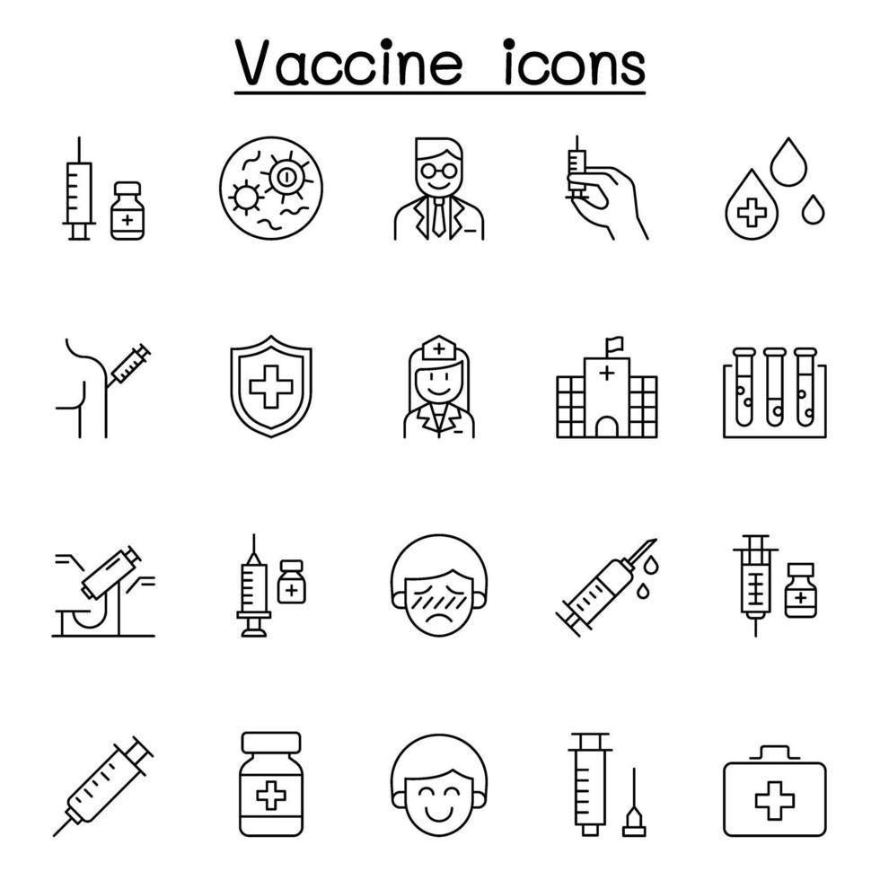 ícones de vacina definidos em estilo de linha fina vetor