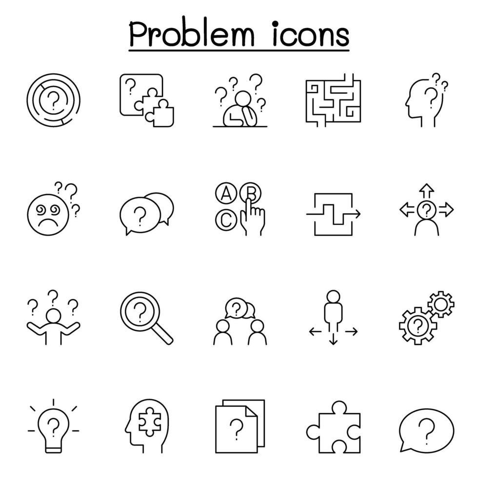 ícones de problema e pergunta definidos em estilo de linha fina vetor