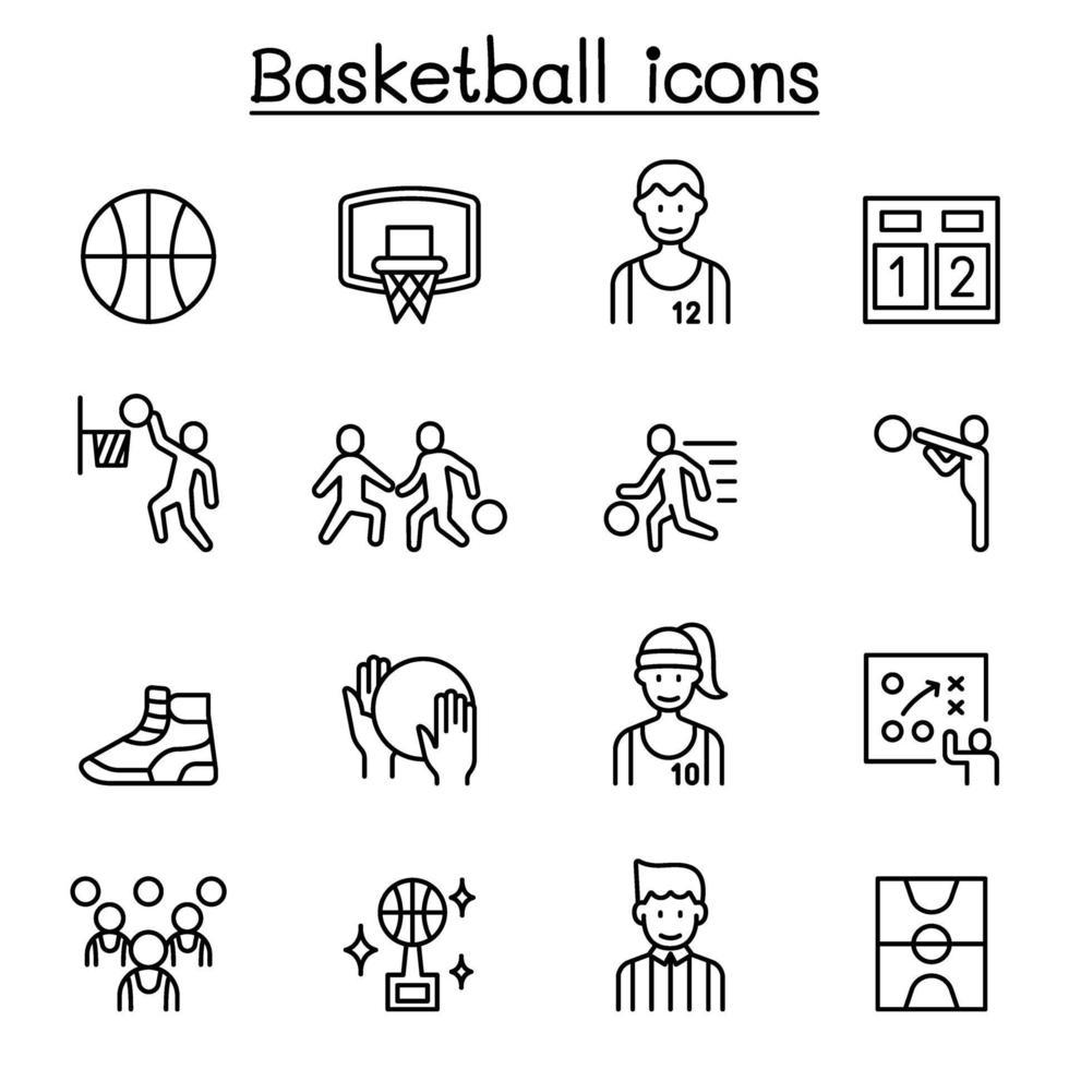 ícones de basquete em estilo de linha fina vetor