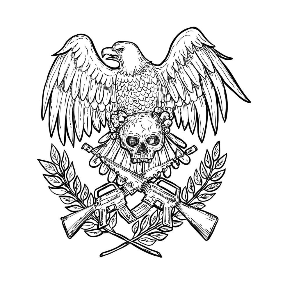 desenho de rifle de assalto com caveira de águia vetor