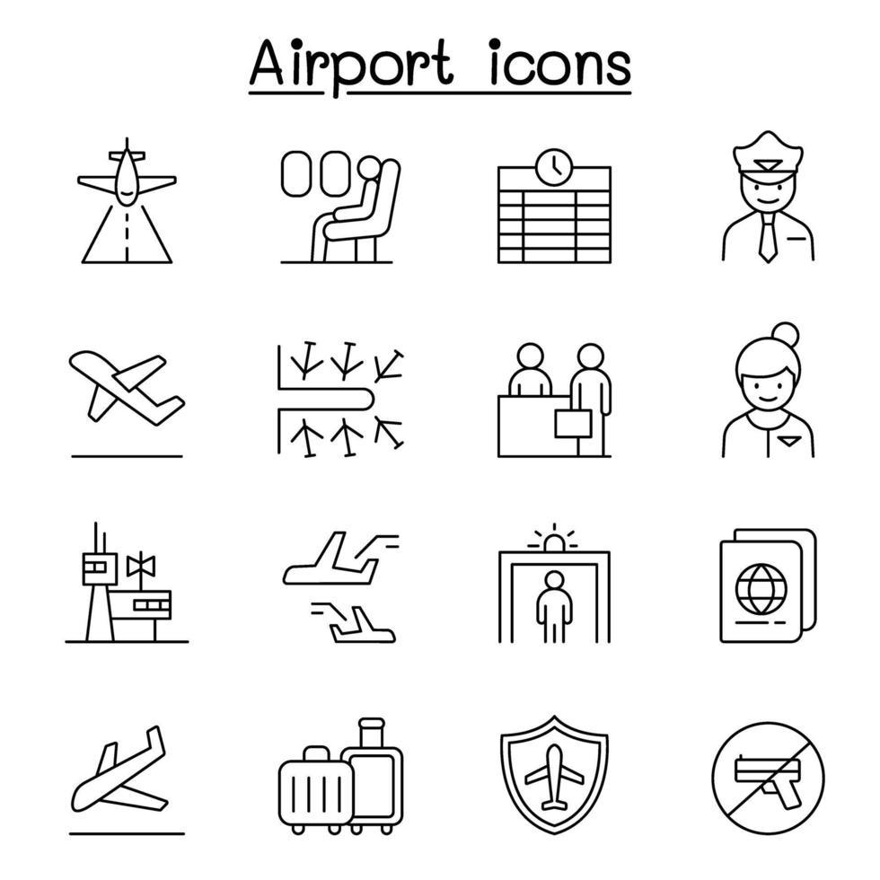 aeroporto, ícone da aviação definido em estilo de linha fina vetor
