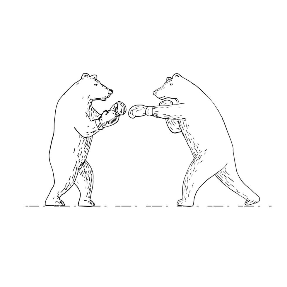 desenho de boxe de dois ursinhos pardos vetor