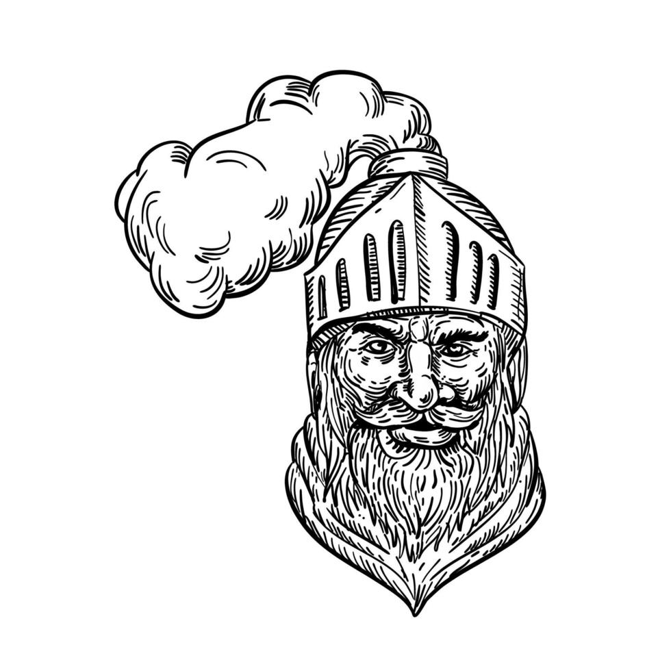 desenho da cabeça do velho cavaleiro vetor