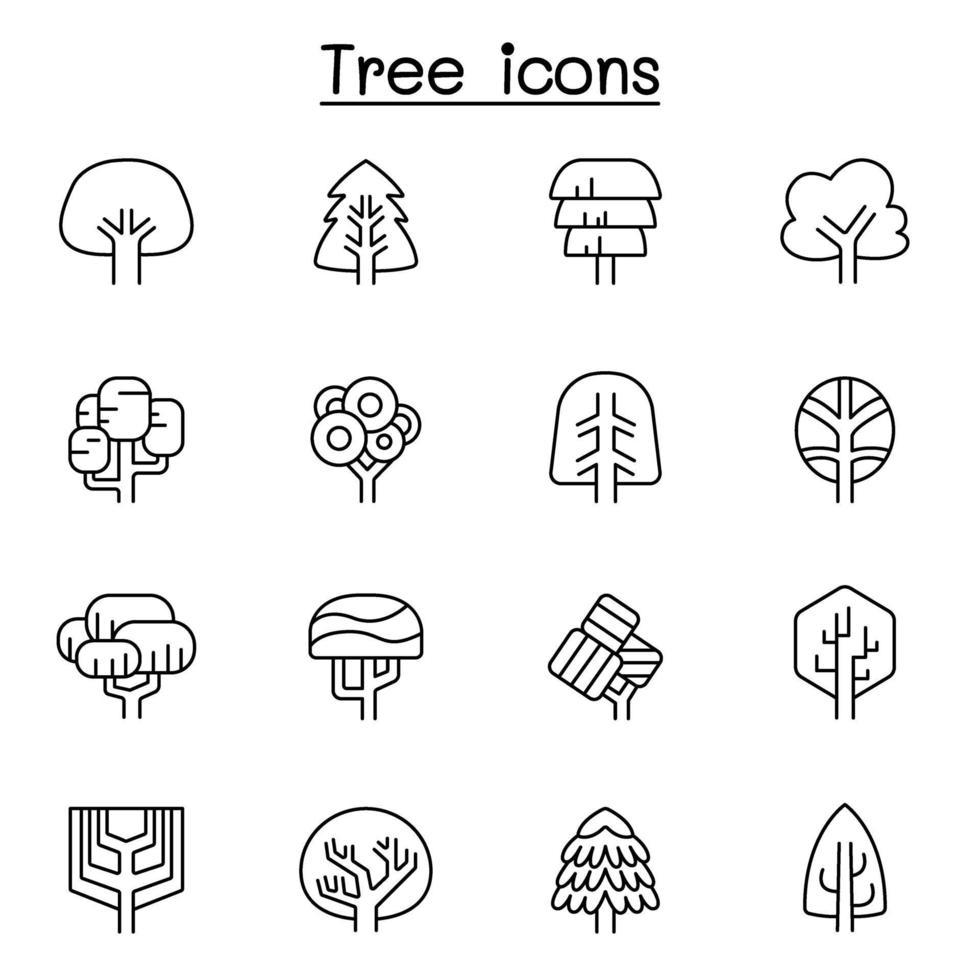 ícone de árvore definido em estilo de linha fina vetor