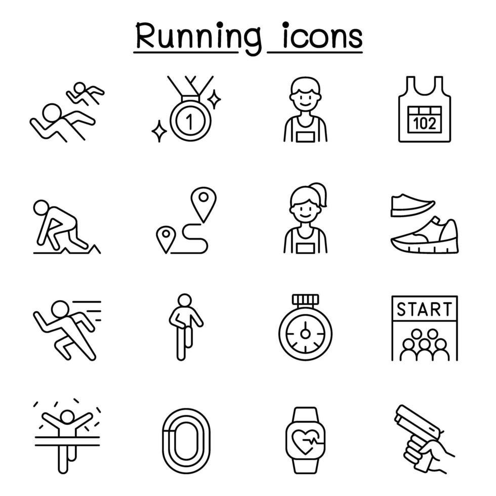 correndo ícone de competição definido em estilo de linha fina vetor