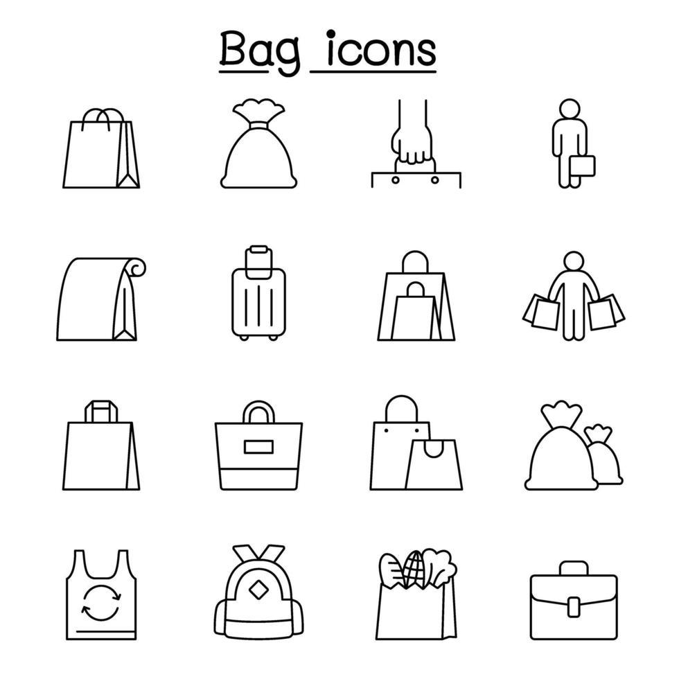 ícones de bolsa definidos em estilo de linha fina vetor