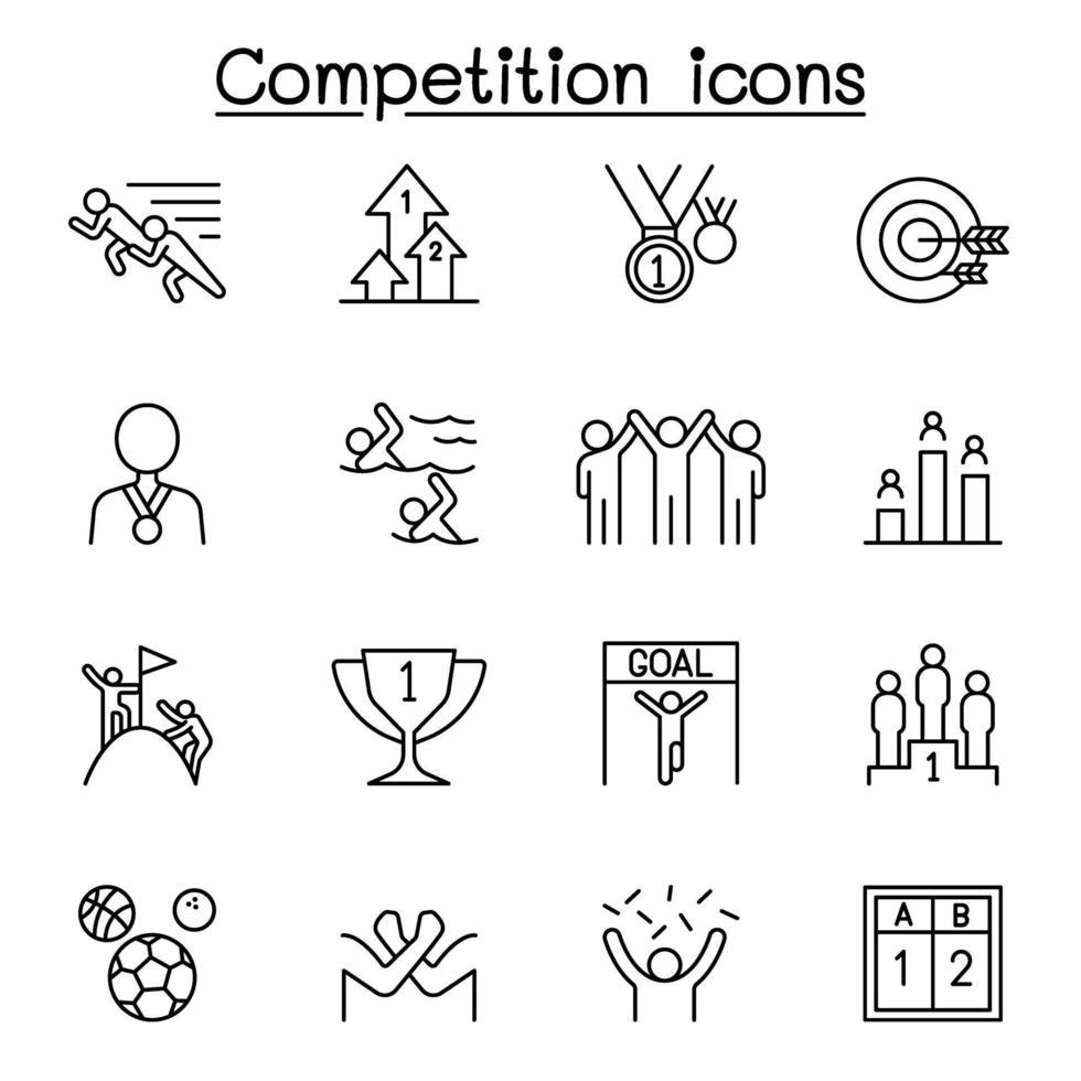 competição, concurso, ícones de torneio definidos em estilo de linha fina vetor