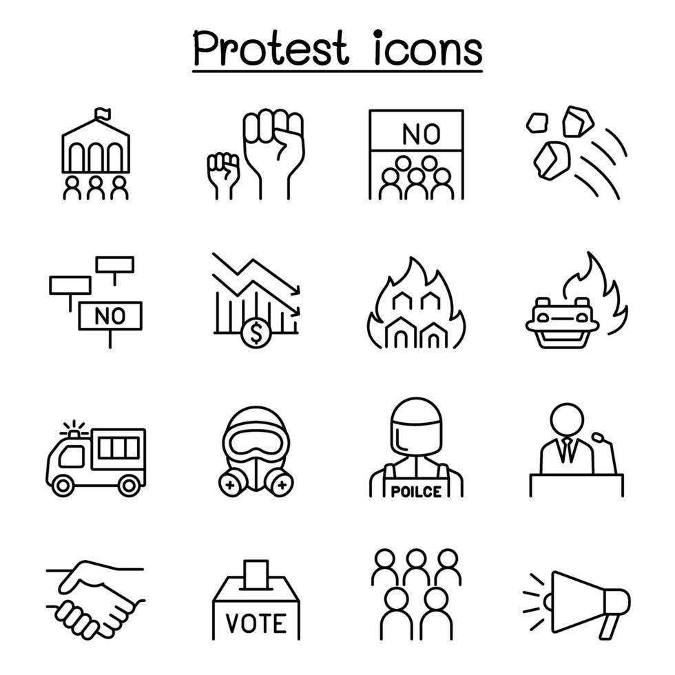 ícone de protesto e caos definido em estilo de linha fina vetor