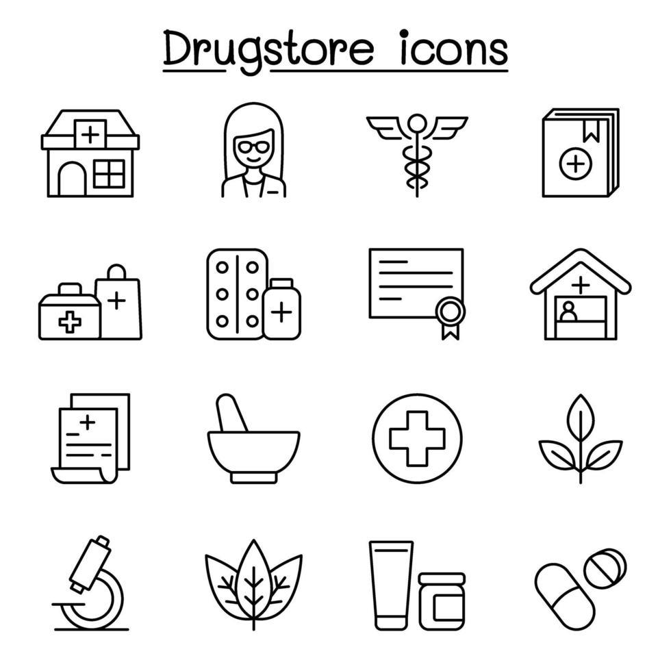 Ícone de linha de drogaria definido em estilo de linha fina vetor