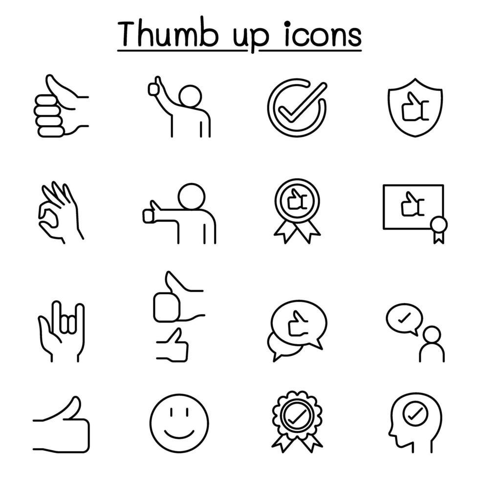 ícones aprovados e polegar para cima definidos em estilo de linha fina vetor