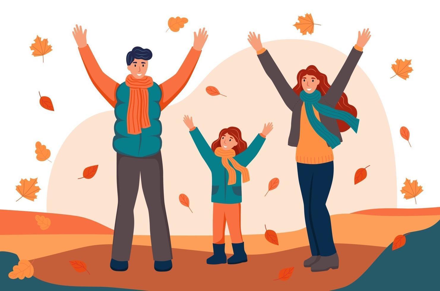 família caminhando e jogando folhas caídas no parque outono. o conceito de família, outono. ilustração em vetor plana dos desenhos animados.