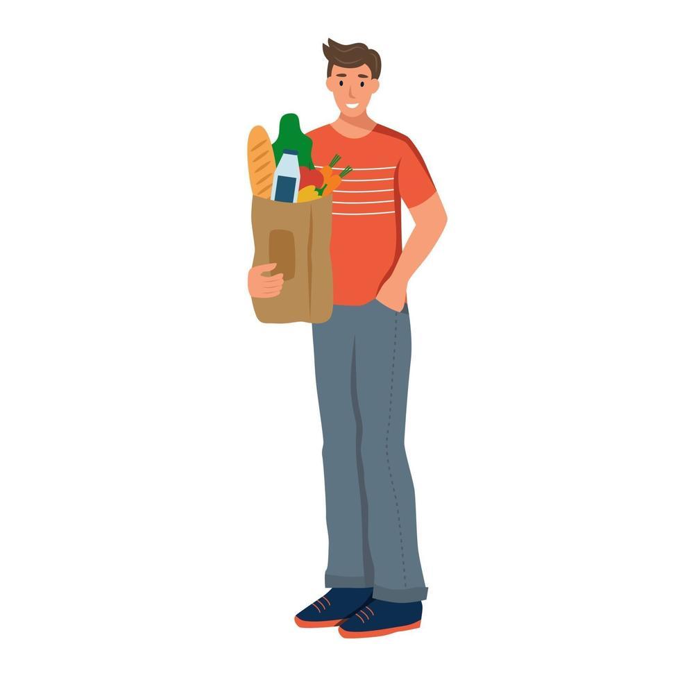 um jovem segura uma sacola de supermercado com produtos naturais. menino fez suprimentos de comida. ilustração vetorial plana isolada em um fundo branco vetor