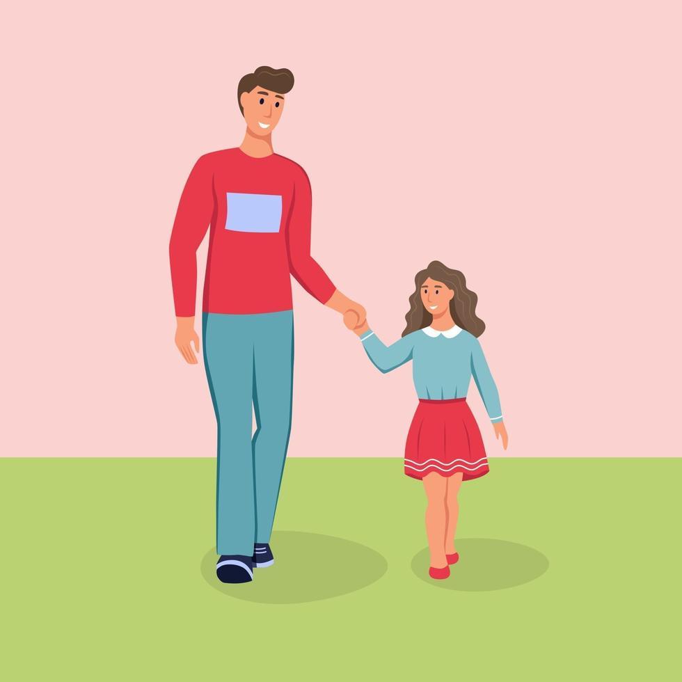 pai e filha andando na rua. pai e filho com roupas de primavera. ilustração em vetor plana dos desenhos animados.