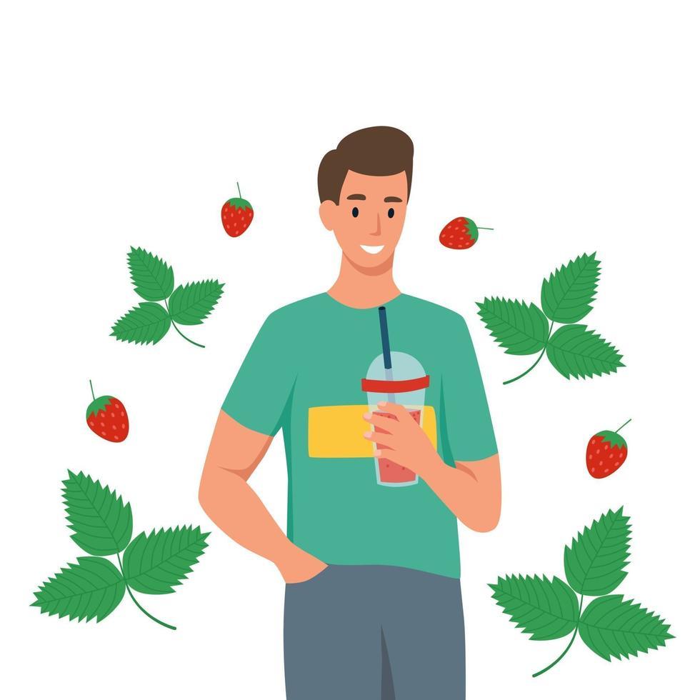 jovem bebe smoothie de morango. o conceito de nutrição adequada e estilo de vida saudável. ilustração em vetor plana dos desenhos animados isolada em um fundo branco.