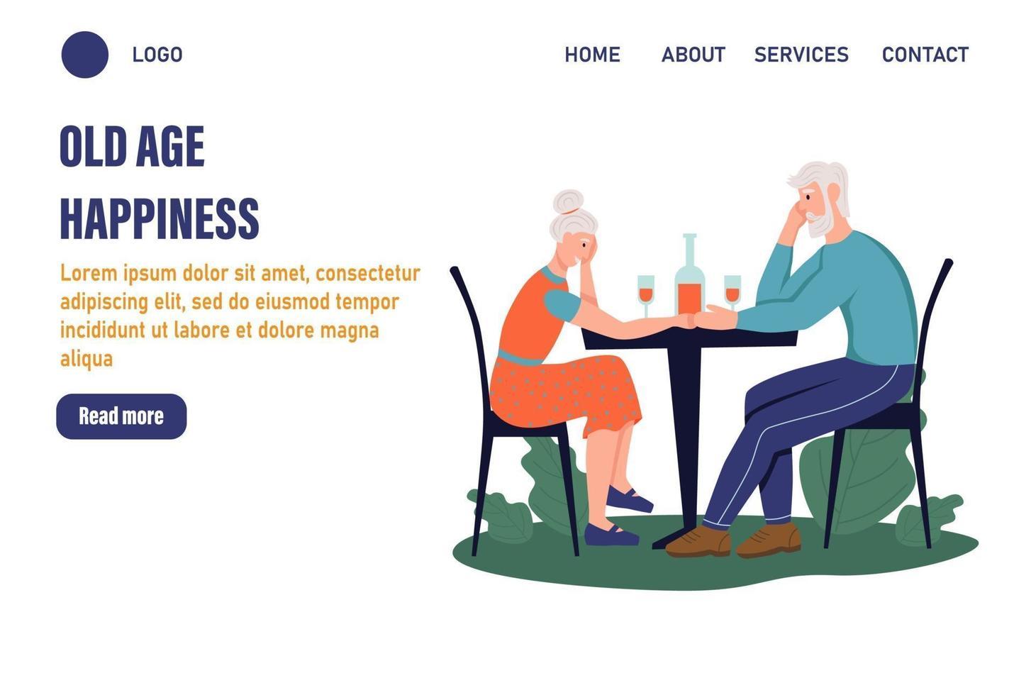 modelo de página de atividades para pessoas mais velhas. um casal de idosos sentado à mesa de um café. O conceito de velhice ativa. dia do idoso. ilustração vetorial plana vetor