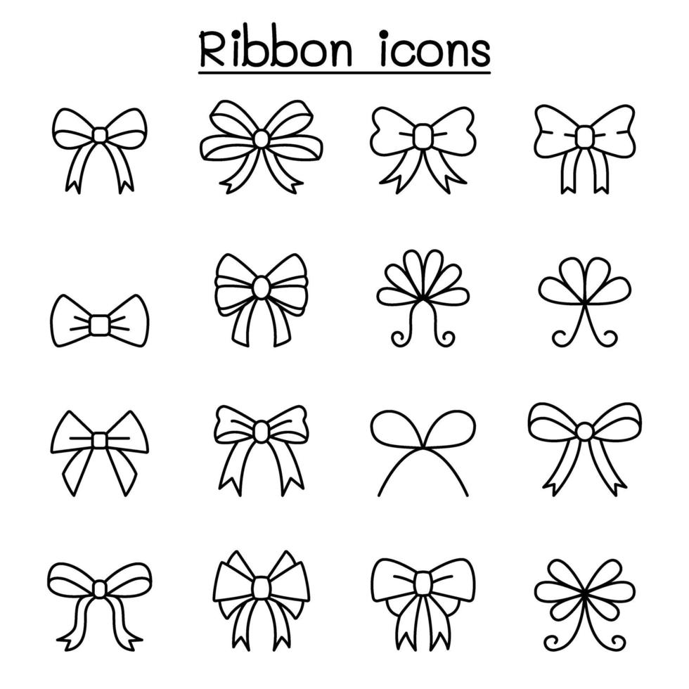 conjunto de ícones de fita e gravata borboleta em estilo de linha fina vetor