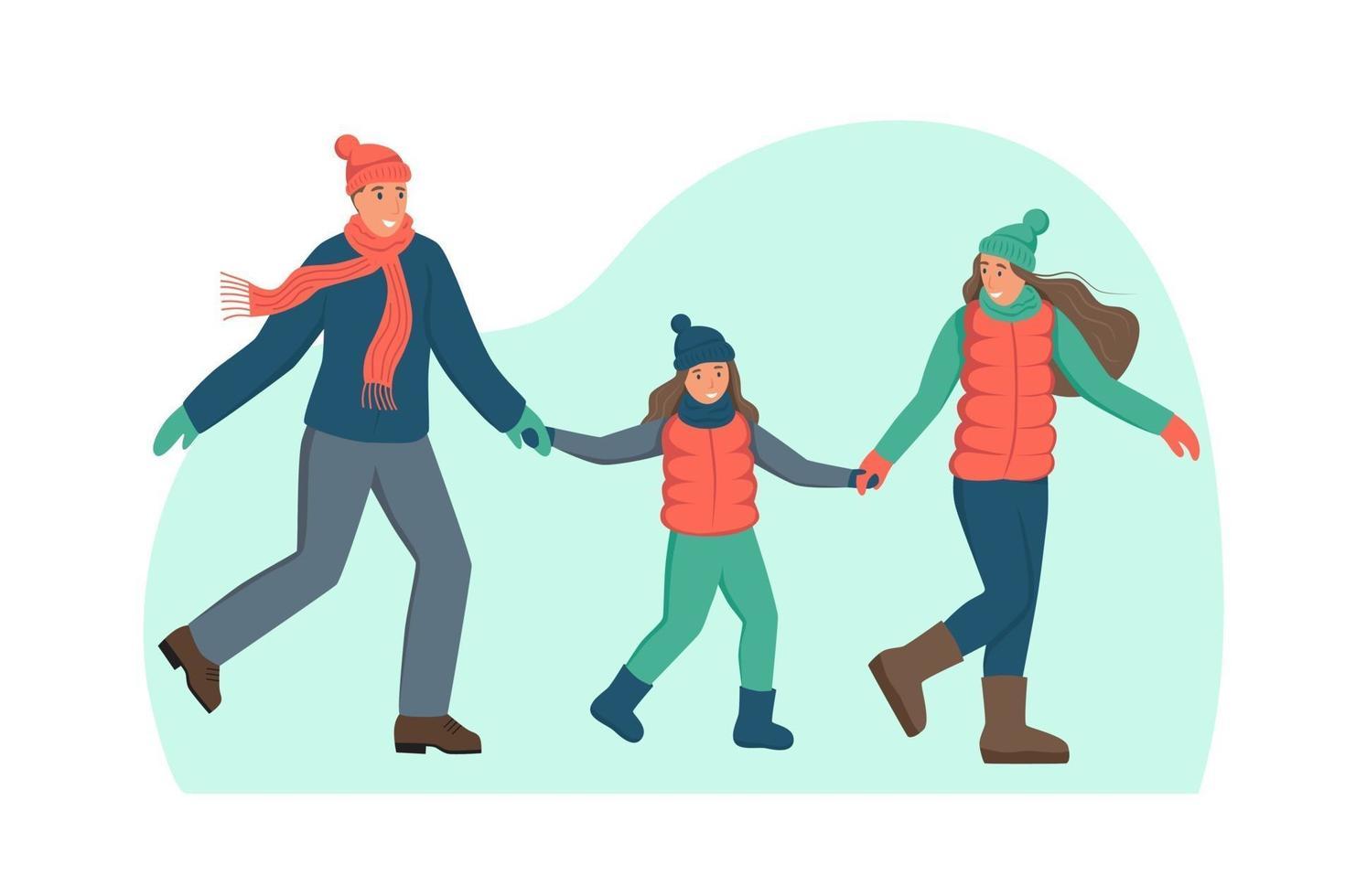 família com roupas de inverno. um personagem isolado em um fundo branco. diversão de inverno, caminhando no parque. ilustração em vetor plana dos desenhos animados.