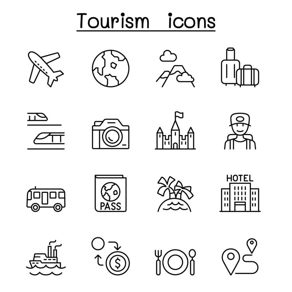 ícone de viagens, transporte e turismo em estilo de linha fina vetor