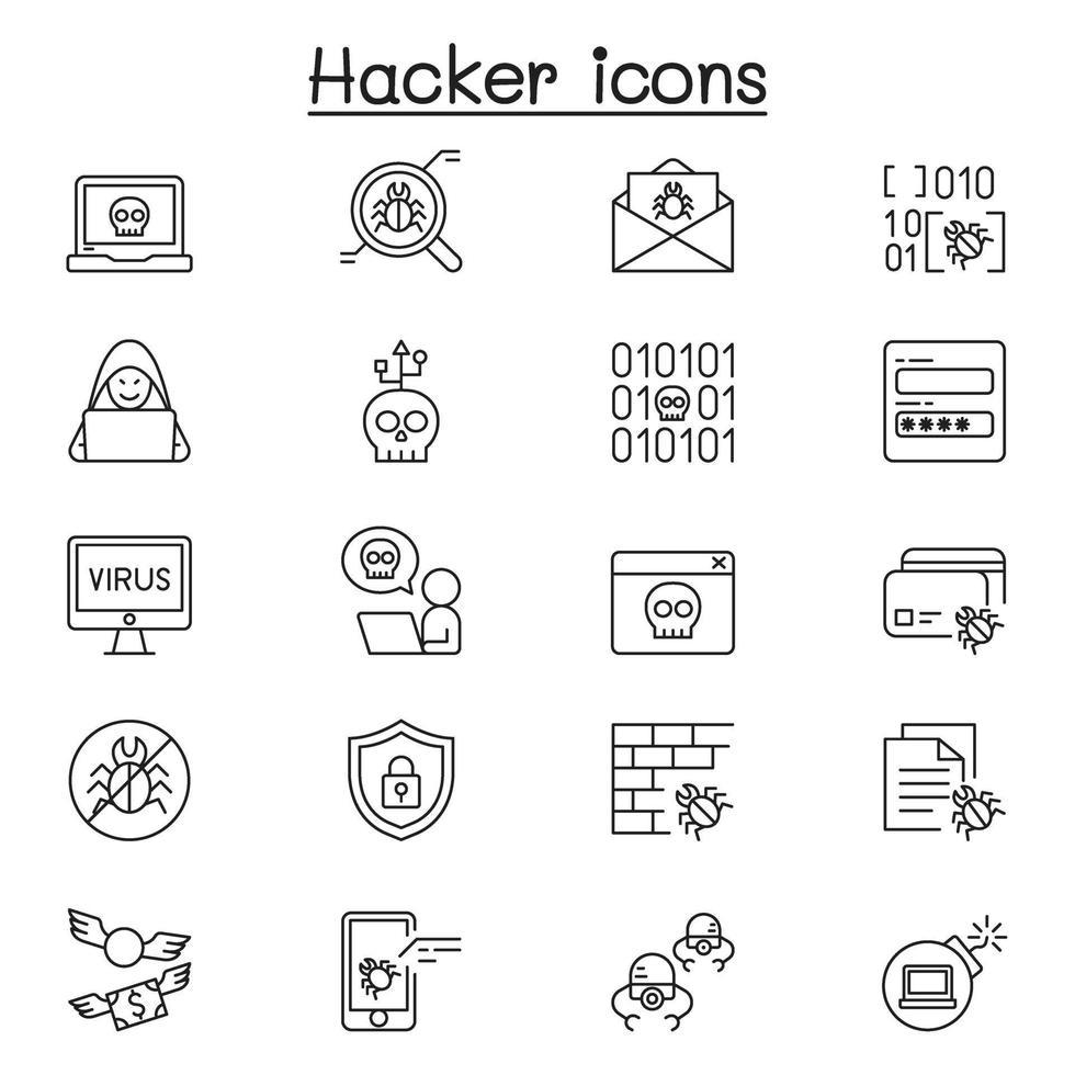 conjunto de ícones de linha do vetor relacionados ao hacker. contém ícones como espião, vírus de computador, malware, spam, firewall, segurança de computador, senha, aplicativo, roubo e muito mais.
