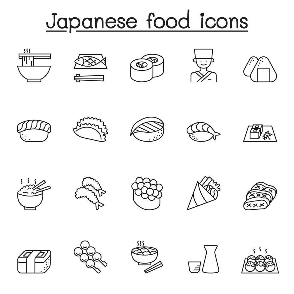 ícone de linha de comida japonesa vetor