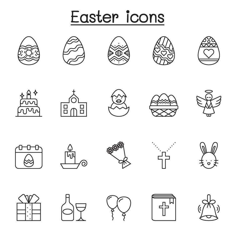 conjunto de ícones de linha do vetor relacionados à Páscoa. contém ícones como ovo, presente, igreja, coelho, galinha, bíblia, balão, flor, cruz, anjo, celebração e muito mais.