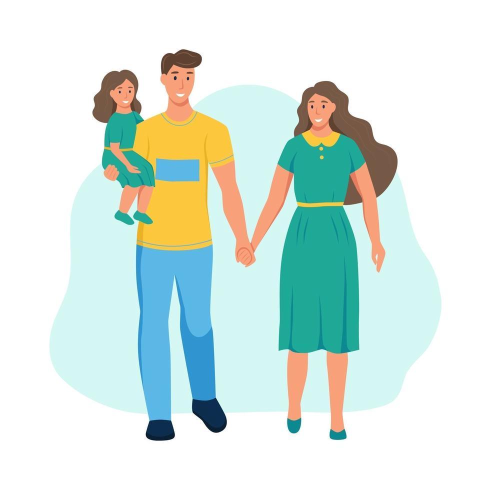 família com roupas de verão. pai, mãe e filha caminhando no parque. um personagem isolado em um fundo branco. ilustração em vetor plana dos desenhos animados.