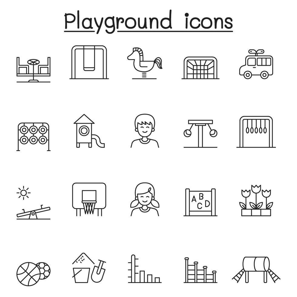 ícones de playground definidos em estilo de linha fina vetor