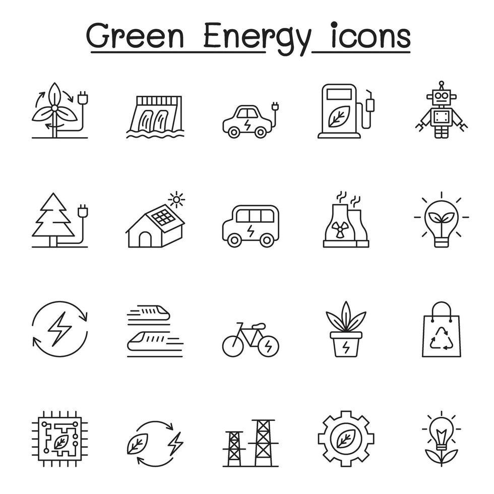 ícones de energia verde definidos em estilo de linha fina vetor