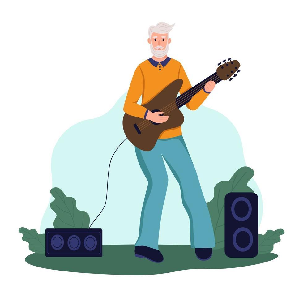 um homem idoso toca violão em um parque. o conceito de velhice ativa. dia do idoso. ilustração em vetor plana dos desenhos animados.