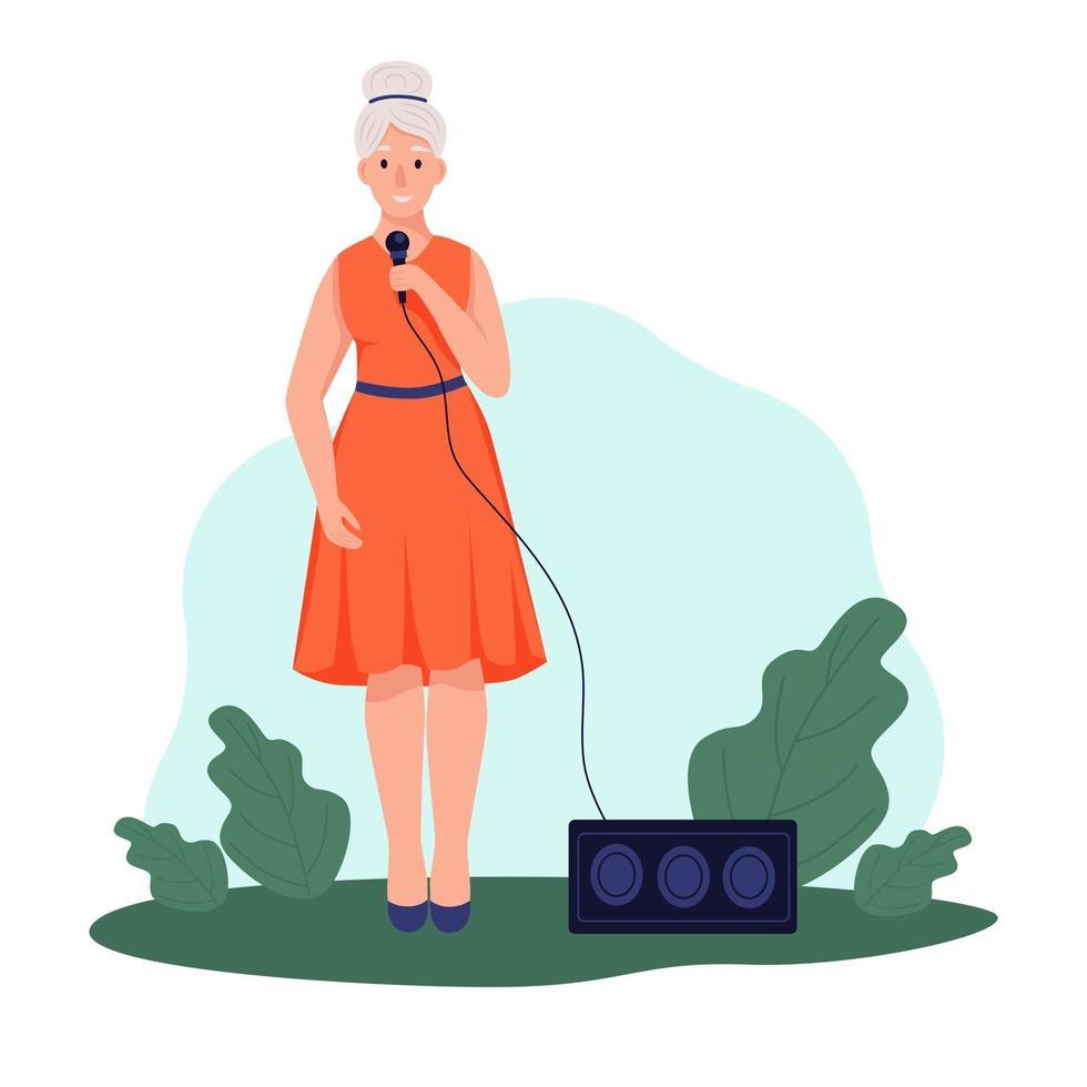 uma mulher idosa canta no parque. o conceito de velhice ativa. dia do idoso. ilustração em vetor plana dos desenhos animados.