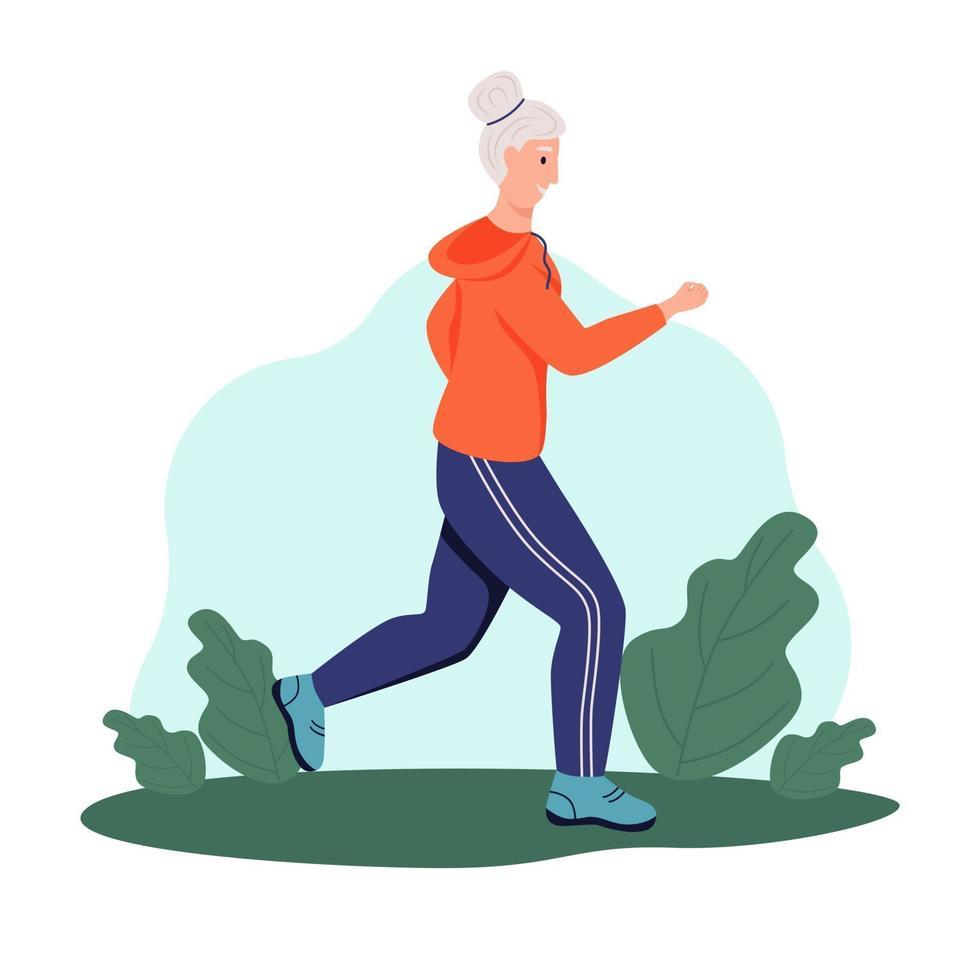 uma senhora idosa corre no parque. o conceito de velhice ativa, esportes e corrida. dia do idoso. ilustração em vetor plana dos desenhos animados.