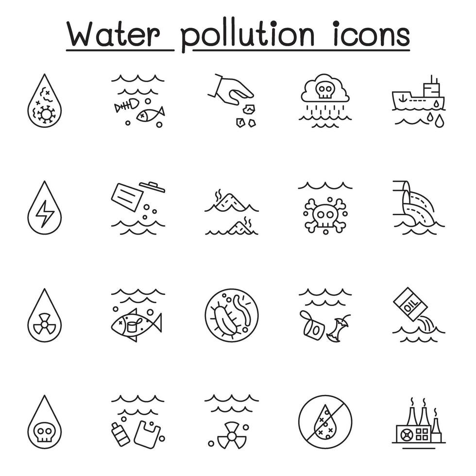 conjunto de ícones de linha do vetor relacionados à poluição da água. contém ícones como água suja, contaminação, resíduos da indústria, garrafa de plástico, bactérias, lixo e muito mais.