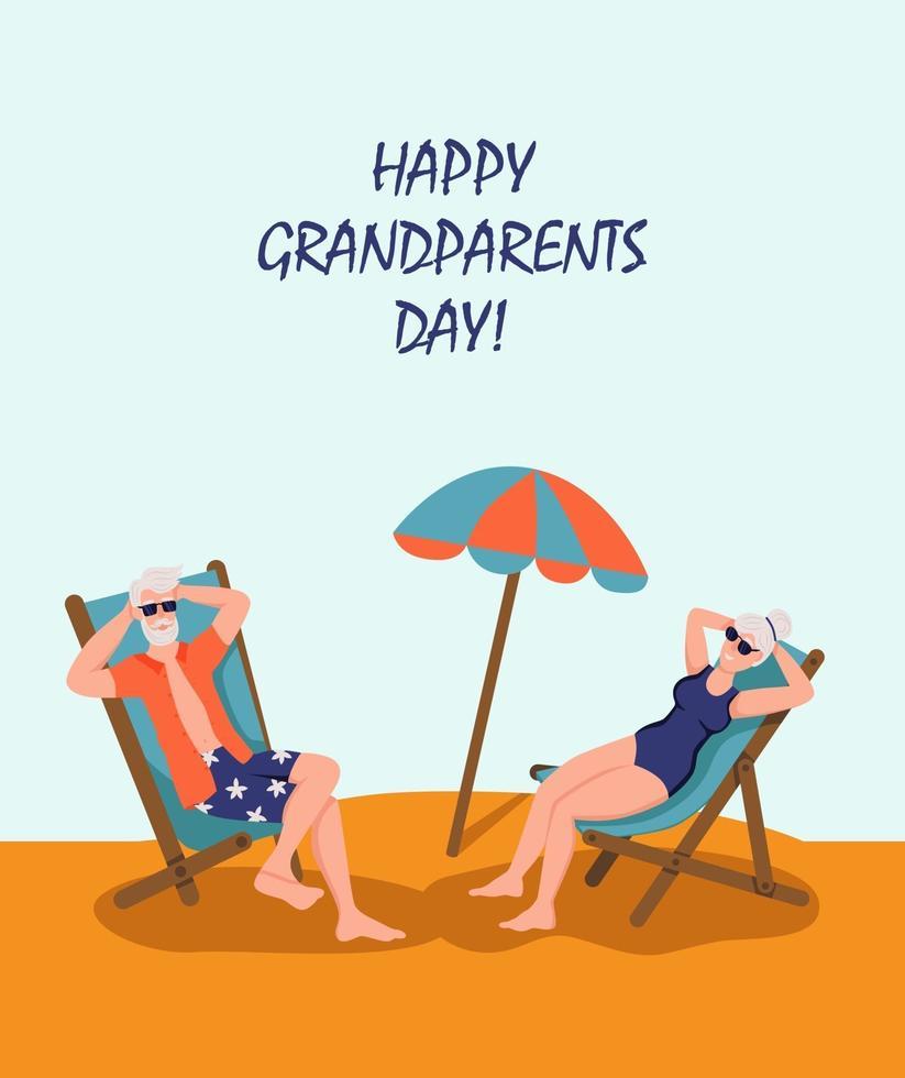 feliz dia dos avós cartão de saudação. casal de idosos tomando banho de sol na praia. alegres personagens de desenhos animados de avó e avô. dia do idoso. ilustração vetorial plana. vetor