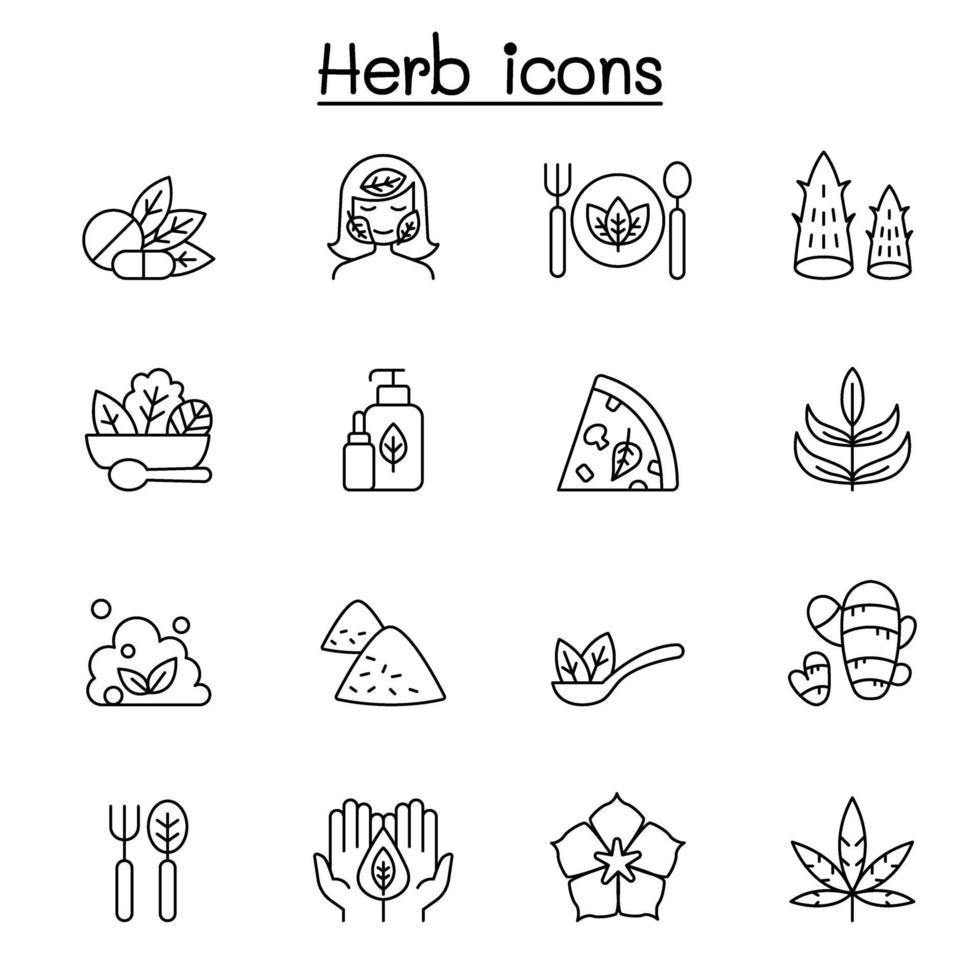ícone de erva definido em ilustração vetorial de estilo de linha fina vetor