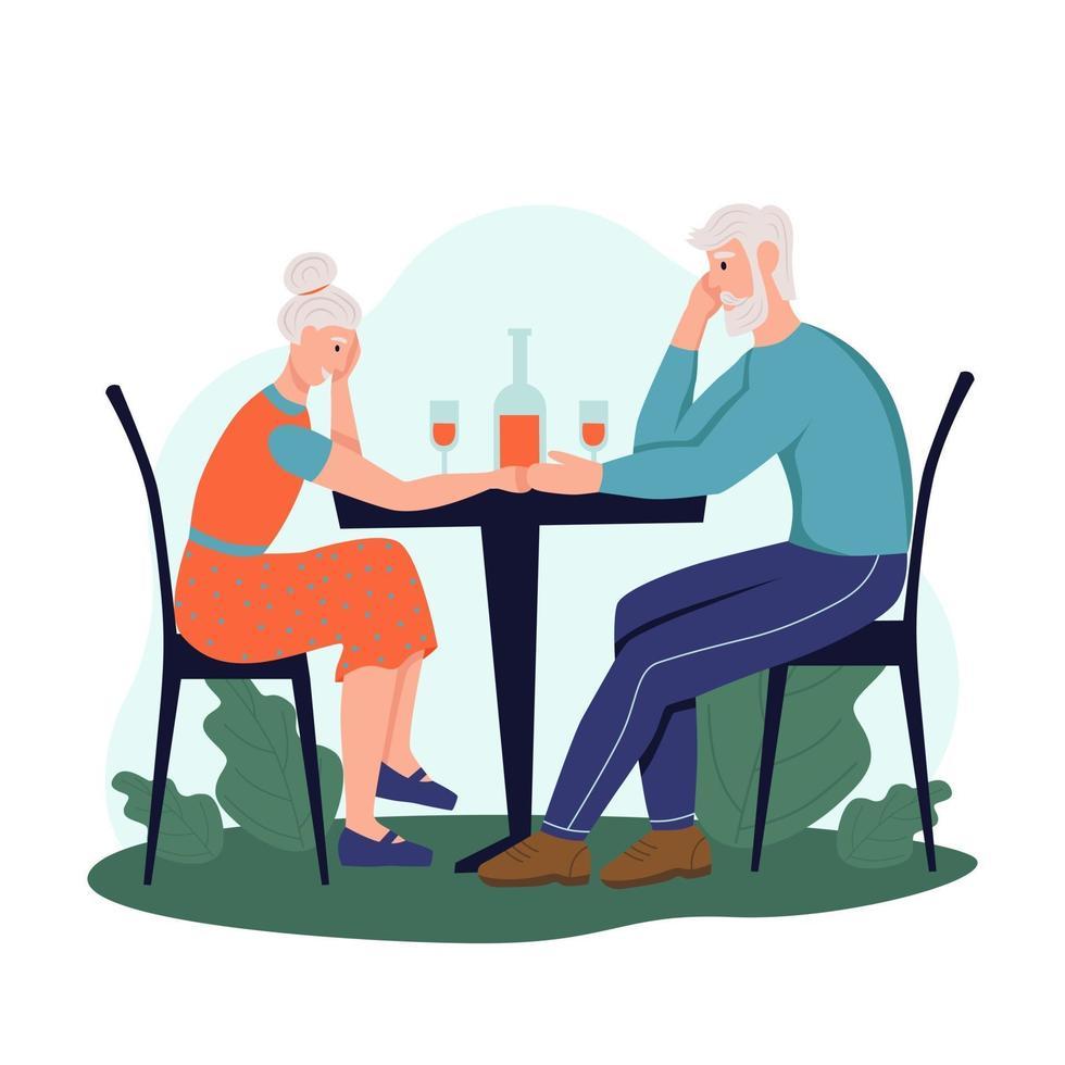 um casal de idosos está sentado em um café na rua e bebendo vinho. o conceito de velhice ativa. dia do idoso. ilustração em vetor plana dos desenhos animados.
