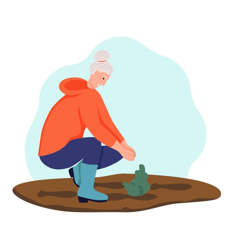 uma mulher idosa fazendo jardinagem. mulher aposentada plantando flores. o conceito de velhice ativa. dia do idoso. ilustração vetorial plana dos desenhos animados vetor
