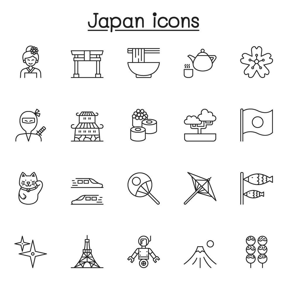 ícone japonês definido em estilo de linha fina vetor