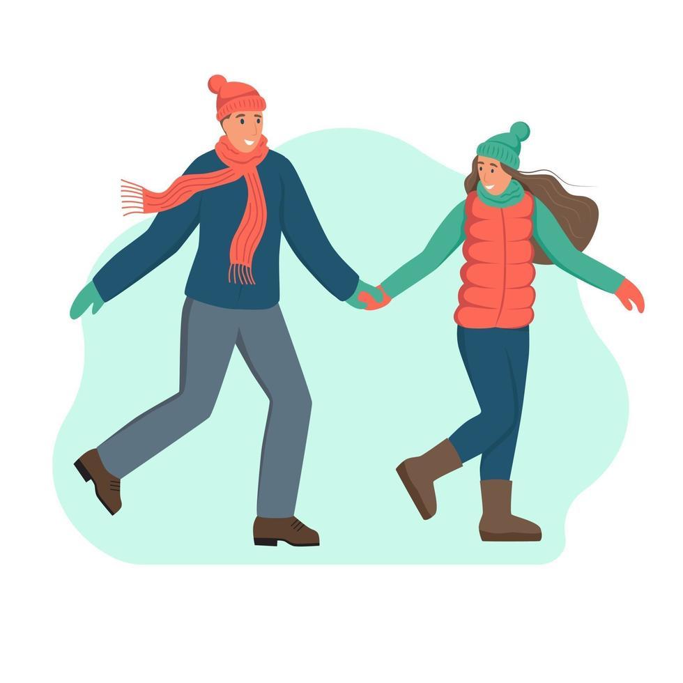 um jovem casal com roupas de inverno. um personagem isolado em um fundo branco. ilustração em vetor plana dos desenhos animados.
