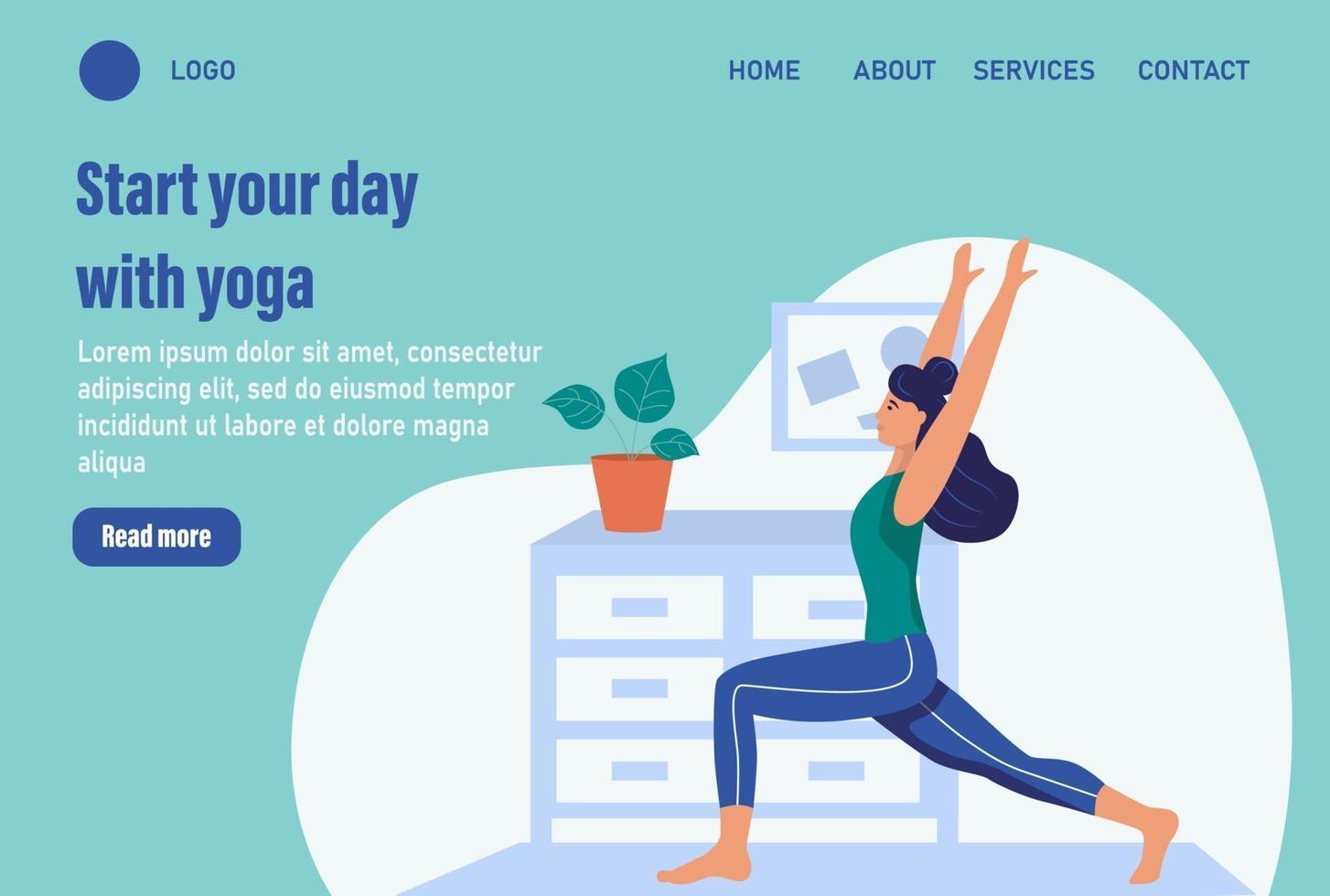 comece o dia com ioga. modelo de página da web de destino da página inicial do site. jovem faz ioga em casa. o conceito de vida cotidiana, lazer cotidiano e atividades de trabalho. ilustração em vetor plana dos desenhos animados.