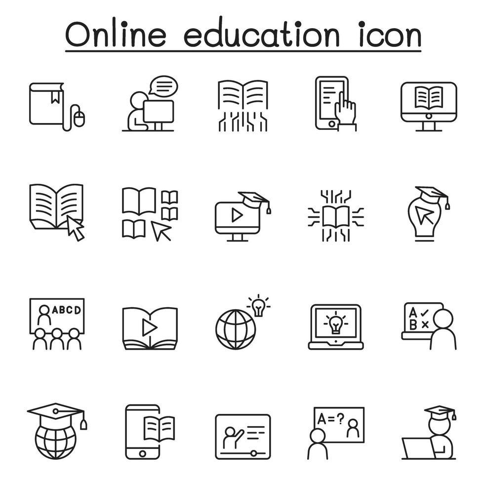 ícones de educação online definidos em estilo de linha fina vetor