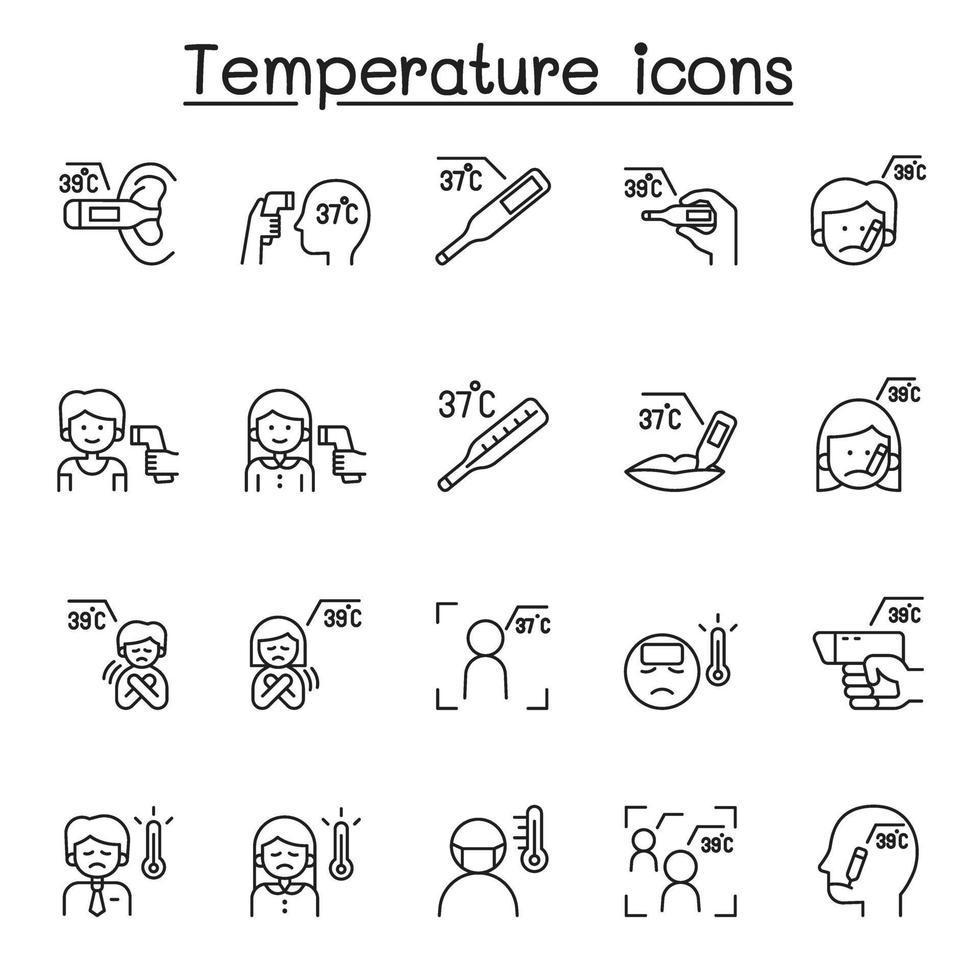 ícones de temperatura definidos em estilo de linha fina vetor