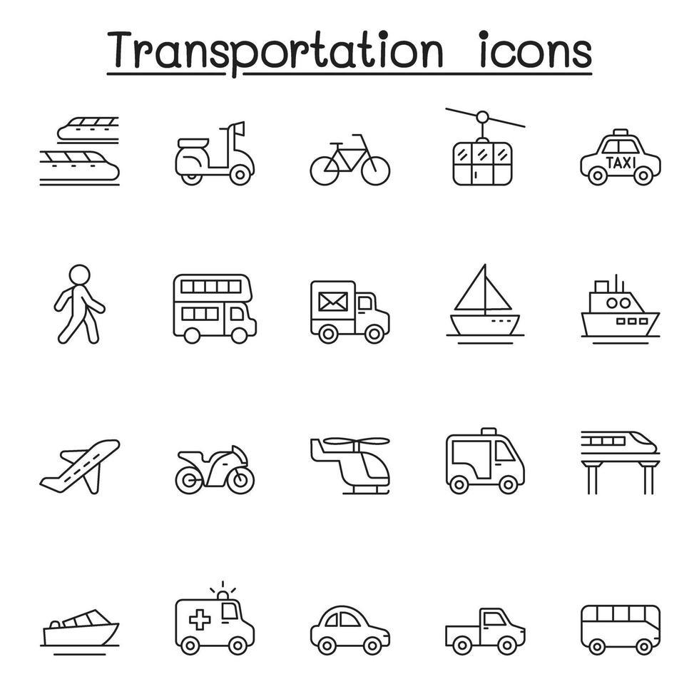 ícone de transporte definido em estilo de linha fina vetor