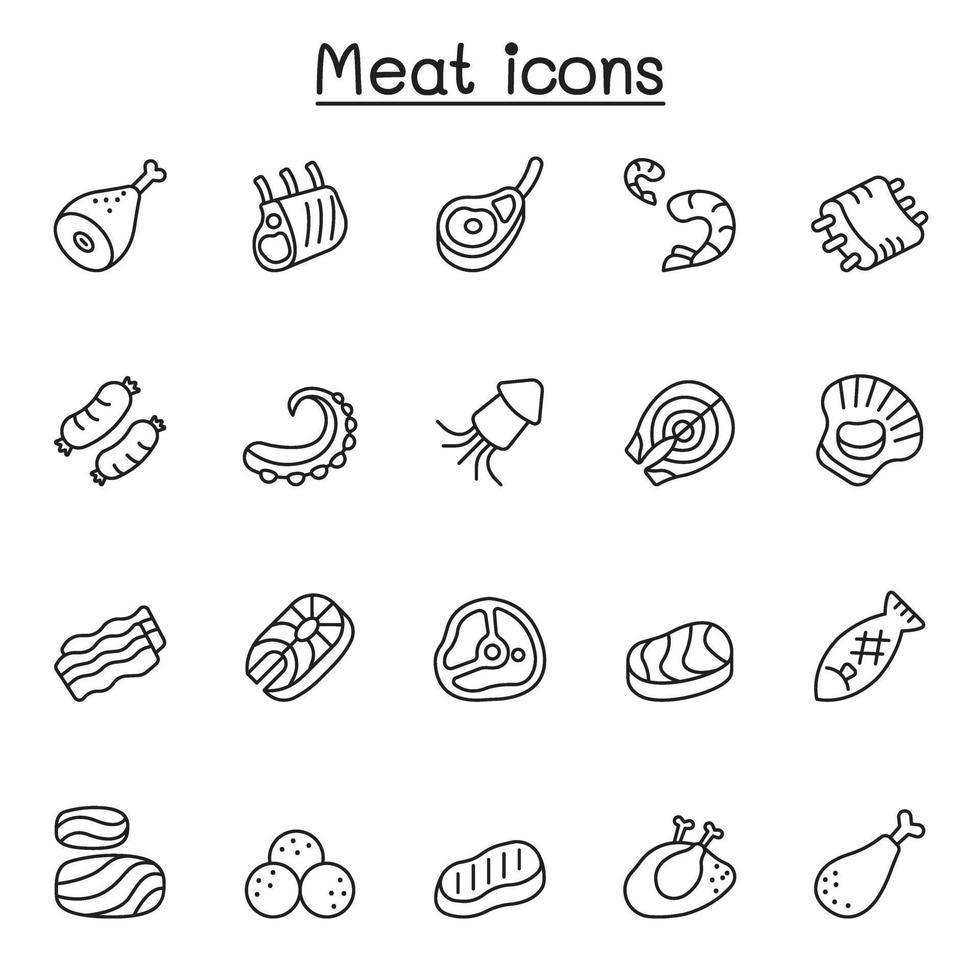 carne, porco, carne bovina, ícones de frutos do mar em estilo de linha fina vetor