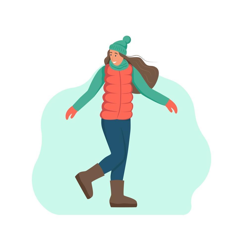 uma jovem com roupas de inverno. um personagem isolado em um fundo branco. ilustração em vetor plana dos desenhos animados.