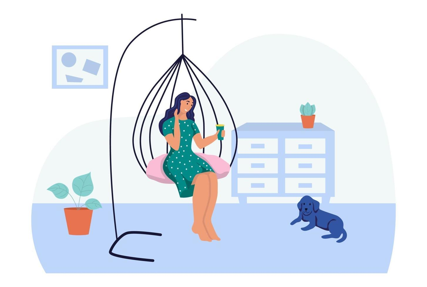 uma jovem está sentada em uma cadeira de casulo suspensa. o conceito de vida cotidiana, lazer cotidiano e atividades de trabalho. ilustração em vetor plana dos desenhos animados.